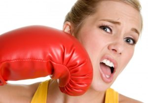 woman punched by red glove