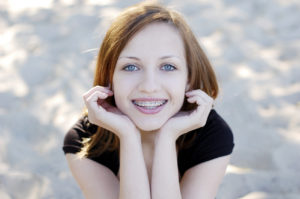 teen girl with braces